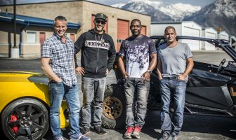 Top Gear Presenters and Ken Block. Credit: BBC - Photographer: Lee Brimble