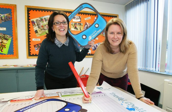 Translink's Communications Officer, Astrid Conville and Ruth Van Ry Environmental Education Managers from Keep Northern Ireland Beautiful.
