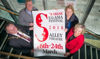 Mayor of Derry City and Strabane District Council, Councillor Maolíosa McHugh, launching the Strabane Drama Festival at the Alley Theatre with, from left Aodh McCay, Festival Director Ciara McCay and Chairperson Maura Shannon.