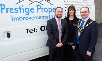 Antrim & Newtownabbey Mayor, with Robert and Emma McDowell from Prestige Property Improvements.