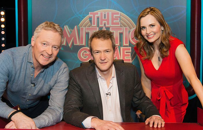 Host Alexander Armstrong, with Top impressionists Rory Bremner and Debra Stephenson.