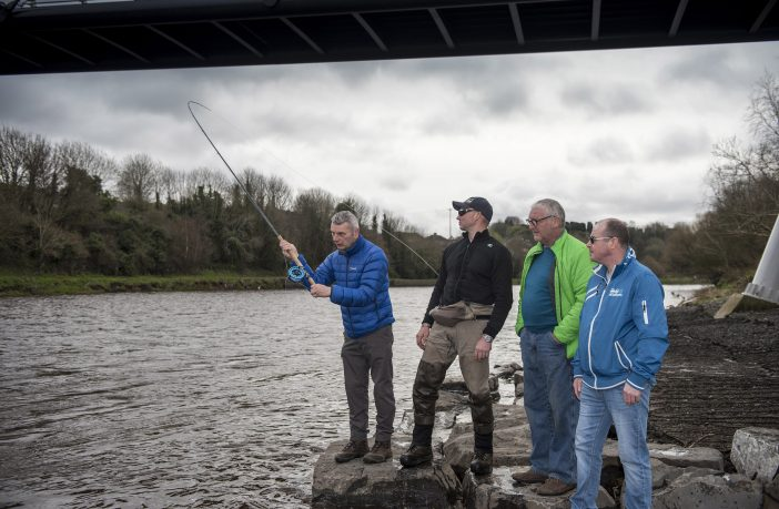 Omagh anglers Andrew Robinson, Brian Virtue and Robert Hannigan get some casting instruction from casting instructor Conor Arnold from Co.Cork at the NW Angling Fair.