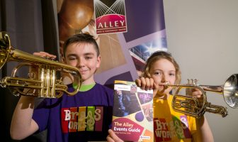 Liam McAnenny and Jenna Millar from 'The Brass Works' Launching the Alley Theatre Summer Programme of Events ahead of the Strabane Brass Band Music 'Bringing Music to Life' Concert in June.