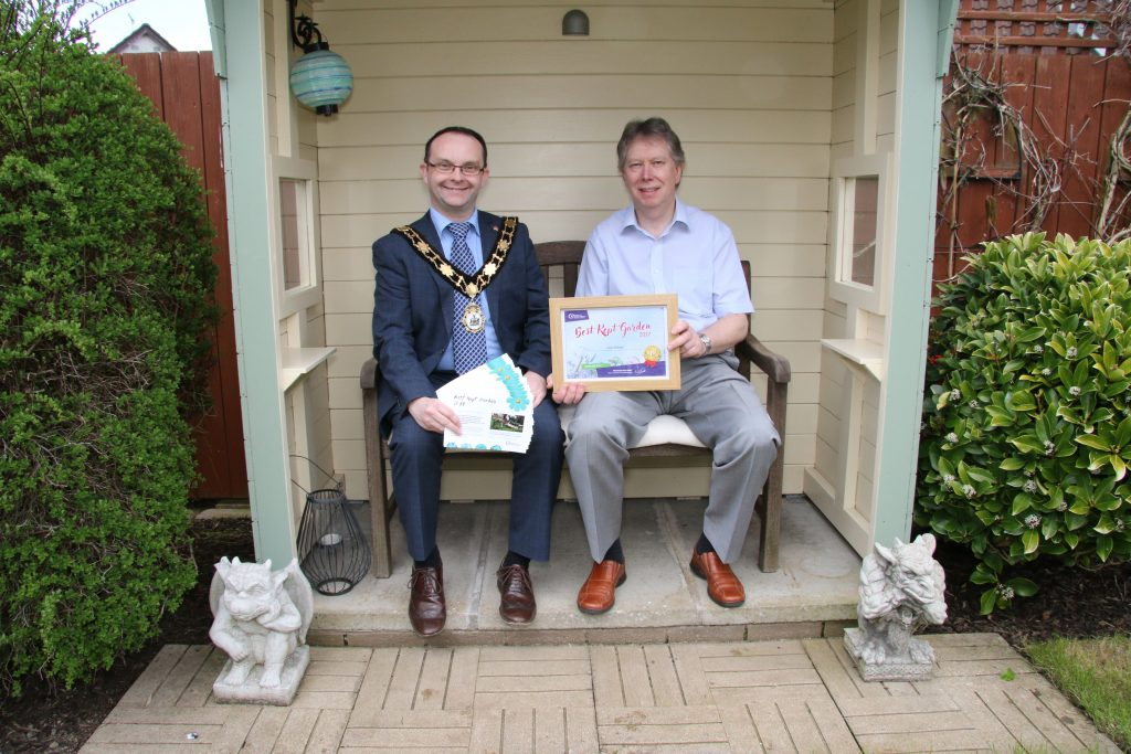 The Mayor, Councillor Paul Hamill, launches this year's Best Kept Garden competition with one of last year's winners, Colin Mitchell.
