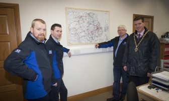Mr. Drew Miller, Managing Director, DA Miller & Sons, Transport Ltd., Claudy pictured showing Deputy Mayor of Derry City and Strabane District Council, Councillor John Boyle around their premises. Included from left are Ryan Miller, Director and Glen Miller, Director.