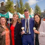 Deputy Mayor of Derry City and Strabane District Council, Councillor John Boyle, with local politicians, Michaela Boyle, Martina Anderson, and Orfhlaith Begley.