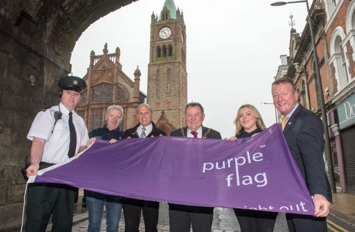 The Mayor Coucillor Maolíosa McHugh pictured at the announcement that Derry has once again been awarded the Purple Flag. Included with PSNI representative are, Paul McCartney, First Housing Support, Jarleath Clarke, Estate Services, Racheal Eastwood, Grand Central and The Taphouse and City Centre Initiative Chief Executive Jim Roddy. Credit: Martin McKeown/Inpresspics.com
