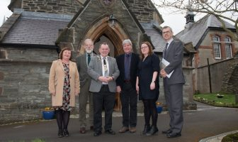 Pictured at the launch of the 2018 Heritage Angel NI Awards at St Augustine's Church are, from left, Heritage Development Officer at DCSDC Margaret Edwards; John Anderson, UAH Vice-Chair; Mayor of Derry City and Strabane District Council, Councillor Maolíosa McHugh; Joe Mahon, host; Nikki McVeigh, UAH CEO and David Johnston, Chair UAH.