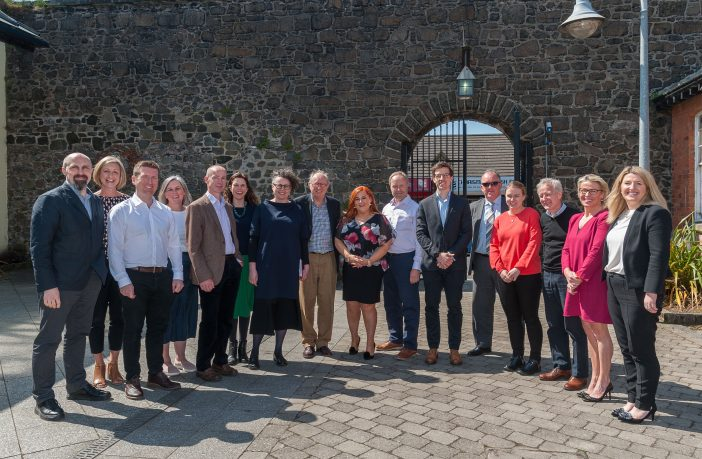 The Academy of Urbanism delegation pictured in Carrickfergus with the CEO of Mid and East Antrim Borough Council, Anne Donaghy.