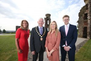 Chair of Mid Ulster District Council, Councillor Sean McPeake is pictured with Edel Creery, NIE Networks; Shauna Blair, Heavenly Tasty organics Ltd; and Andrew Smythe, NI Chamber, at the NI Chamber regional networking event at Hill of The O'Neill, Dungannon last week.