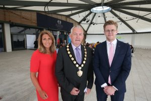Chair, Councillor Sean McPeake is pictured with Edel Creery, NIE Networks and Andrew Smythe, NI Chamber, at the regional networking event.