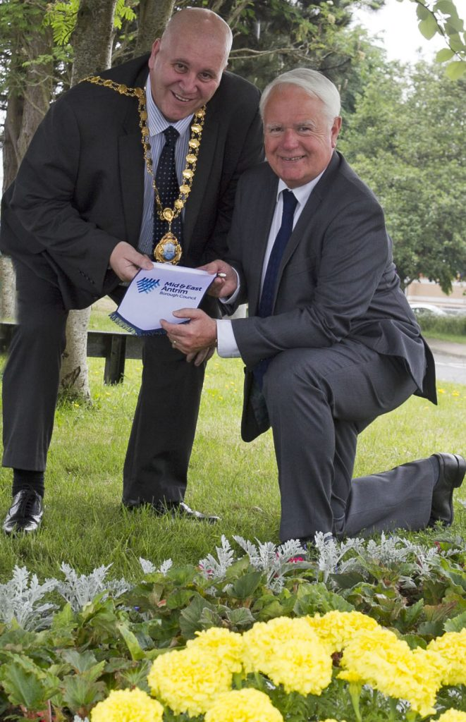 Mayor of Mid & East Antrim Council, DUP Cllr Paul Reid, pictured along with Chairman of the Broughshane Community Association Lexie Kerr.