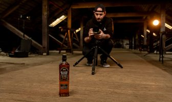 Ballymena photographer Ronan O'Dornan photographs a bottle of Black Bush.