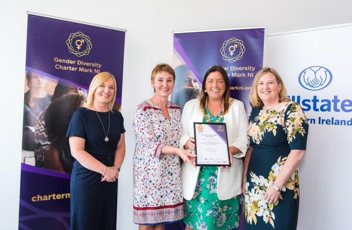 Nichola Robinson, Chair of Diversity Mark NI and Director at Bombardier is pictured with Catherine Christy, Human Resources Manager, Belfast City Council, Belfast Lord Mayor Councillor Deirdre Hargey and Roseann Kelly Chief Executive, Women in Business. Belfast City Council is one of 11 organisations awarded a Bronze Gender Diversity Charter Mark, recognising its commitment to advancing gender diversity in the work place.