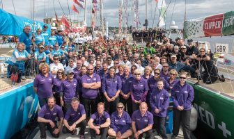 The crews of the Clipper Round the World Yacht Race pictured before their departure from Derry-Londonderry in Northern Ireland as they start race 13. Picture Martin McKeown/Clipper-ventures. 17.07.16