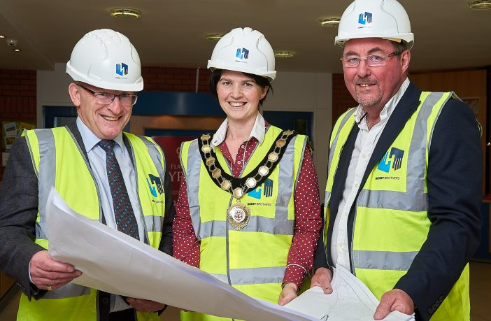 Chair of Mid Ulster District Council, Councillor Kim Ashton, is pictured with Harry Henry, Contracts Director, Henry Brothers and Alan Mitchell, Commercial Director, Henry Brothers, ahead of next month's 'Meet The Buyer' event for local companies interested in supply chain opportunities in the construction of the new Northern Ireland Fire & Rescue Service (NIFRS) Learning and Development Centre at Desertcreat.