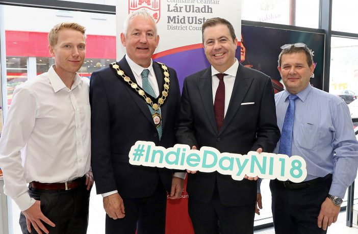 The Chair of Mid Ulster District Council, Councillor Sean McPeake is pictured launching this year's Independents' Day with Paul Wilson, President Cookstown Chamber of Commerce; Glyn Roberts, CEO Retail NI and Stephen McMullan, Chair Dungannon Traders Association.