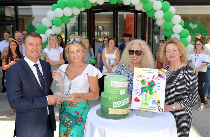 Jason Hargreaves, Matalan CEO, receives from Lydia Bright, Debbie Douglas and Jo Swinhoe, NSPCC director of fundraising, an award to commemorate the retailer hitting a £10million milestone in raising money for NSPCC since 2004, in Liverpool. Credit: Anthony Devlin/PA Wire