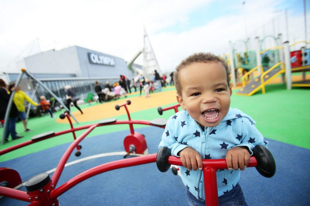 Joshua Kayode has fun in the new play-park outside Olympia Leisure Centre - the outdoor facilities including a multi-use games area, play-park, artwork and a new tree lined boulevard.