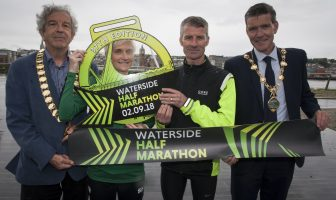 HALF MARATHON LAUNCH. . . .The Mayor of Derry City and Strabane District Council, John Boyle pictured at the launch of the Waterside Half Marathon at Ebrington on Friday afternoon. This year's event will take place on 2nd September. Included from left are Ian Taylor, President, Athletics NI, Ann-Marie McGlynn and Declan Reed. Credit: Jim McCafferty Photography