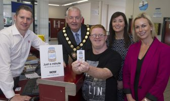 Introducing the JAM Card into Mid Ulster District Council are (L to R), Stephen Donnelly, Dungannon Leisure Centre; Francis Fitzsimons, JAM Card user; Chair of Mid Ulster District Council, Councillor Sean McPeake; Ann McAleer, Mid Ulster District Council; and Diane Hill, Director of NOW Group.