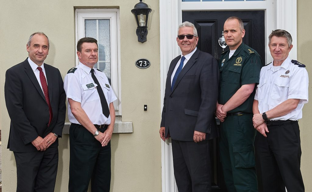 Highlighting the importance of properties being numbered for the emergency services are: (L-R) Willie Wilkinson, Head of Building Control, Mid Ulster District Council; Inspector Andrew Archibald, PSNI; Councillor Kenneth Reid, Environment Committee Chair, Mid Ulster District Council; Glyn Mercer, NI Ambulance Service; Paul McCloskey, NI Fire & Rescue Service