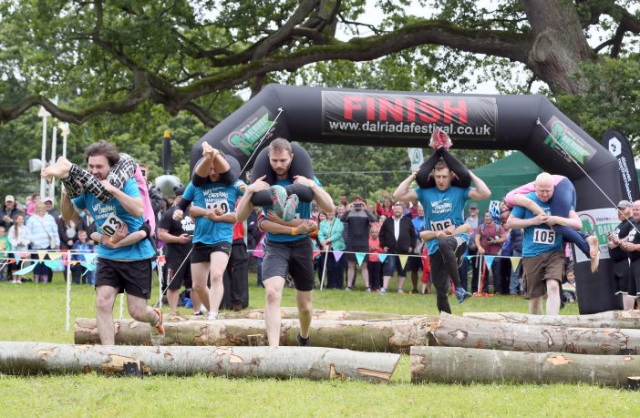 All Ireland Wife Carrying Championships return to Dalriada Festival at Glenarm Castle on 14 and 15 July. www.dalriadafestival.co.uk Credit: Paul Faith