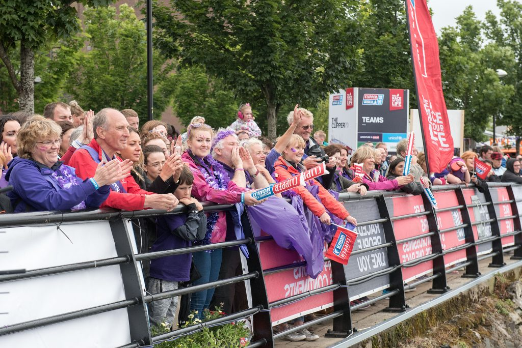 Thousands of supporters line Derry Quay to welcome the Clipper fleet in 2016.