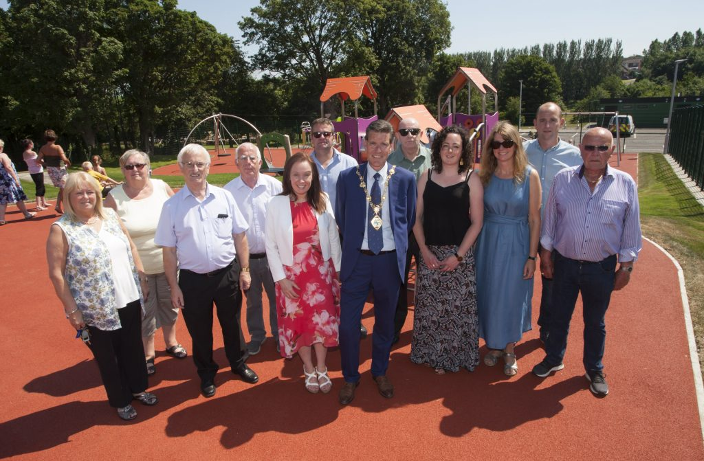 Mayor of Derry City and Strabane District Council, Councillor John Boyle, pictured with stakeholders and funders at the announcement of the completion of work of the Kilfennan Play Park Project. The development is jointly funded by the Social Investment Fund (SIF) under the NI Executive's Delivering Social Change framework and Council through its Parks Development Programme.