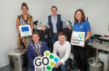 Mayor of Derry City and Strabane District Council, Councillor John Boyle, Celebrating the Go For It Programme's 200th Business Plan at The Brewery at the Baronscourt Estate with, Orla McNulty (Business Adviser, Strabane Enterprise Agency), Adam Colhoun and John Wauchob from The Brewery and Tara Nicholas, DCSDC Business Development Officer.