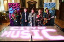 Joseph Rickets (ACSONI), Gareth Neill, BID Manager, Lord Mayor Councillor Deirdre Hargey, Michelle Baird, Ulster Orchestra, and Davy Watson at the launch of Belfast Music Summer Season. The pop-up summertime animation programme will shine a spotlight on Belfast's rich musical heritage and local music scene, bringing music to all corners of the city over the coming weeks.