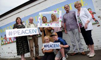 Deputy Mayor Cllr Cheryl Johnston with Alderman Maureen Morrow, MEAAP Peace IV Project Officer Sarah McLaughlin and representatives from Doury Road Youth Group and Alzheimer's Society