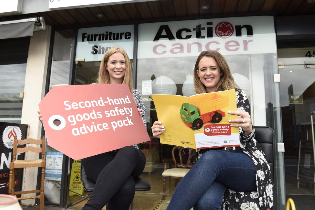 Councillor Kate Nicholl, chair of Belfast City Council's People and Communities Committee, popped in to Action Cancer on the Ormeau Road to share Council's new advice pack for charity shops and auctioneers selling second-hand goods. Also pictured is Kathryn Young from Action Cancer. Credit: Michael Cooper