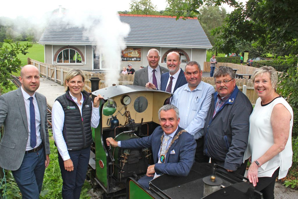 At the launch of the work to begin the masterplan for Delamont Country Park were - at the Steamers minature railway - Andy Patterson, Assistant Director of Tourism for Newry Mourne and Down District Council; Sarah Noble, Project Manager for Outdoor Recreation; Newry Mourne and Down District Council Chairman Cllr Mark Murnin pictured with Cllrs Robert Burgess, Harry Harvey, Terry Andrews and Billy Walker with DEA Rowallene Coordinator, Ellen Brennan.