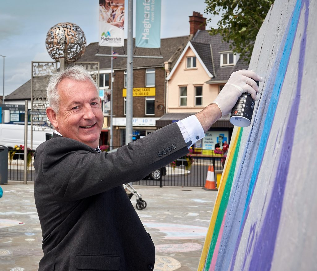 Chair of Mid Ulster District Council, Councillor Sean McPeake is pictured trying his hand at some graffiti art at the first ever Tafelta Festival in Magherafelt.