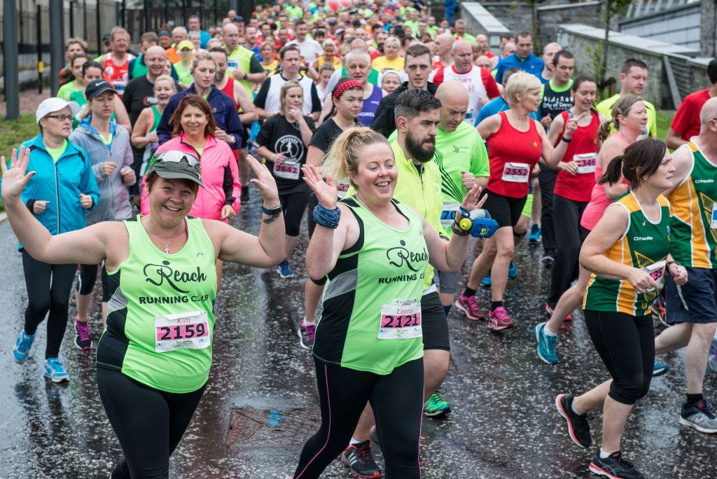 Some of the two thousand runners who took part in the 2017 Waterside Haf Marathon, leave Ebrington Square on Sunday morning. Credit: Martin McKeown / Inpresspics.com.