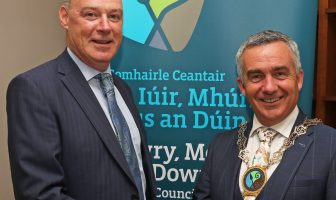 Newry, Mourne and Down District Council Chief Executive, Liam Hannaway and Chairman, Councillor Mark Murnin unveil the new Chain of Office.