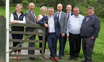 In the walled garden at the launch of work on the new masterplan for Delamont Country Park were Sarah Noble, Outdoor Recreation Project Manager; Rowallene Councillor Robert Burgess; Rowallene DEA Coordinator Ellen Brennan; Newry Mourne and Down District Council Chairman, Cllr Mark Murnin; Andy Patterson, Council Assistant Director of Tourism, with councillors Harry Harvey, Terry Andrews and Billy Walker.