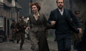 Eleanor Tomlinson as Amy and Rafe Spall as George. Credit: Mammoth Screen - Photographer: Matt Squire