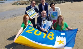 Mayor of Mid and East Antrim Paul Reid pictured alongside Ian Humphreys from Keep NI Beautiful, Niall Curneen from MEABC and Anna Lo