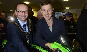 World Superbike champion Jonathan Rea returns home to Northern Ireland to a heroÕs welcome this evening. Family and fans where at Sixmile Leisure Centre in Ballyclare to greet the 3 time world champion. Jonathan is pictured with Councillor Paul Hamill is the Mayor of Antrim and Newtownabbey. Credit: Arthur Allison/Pacemaker Press