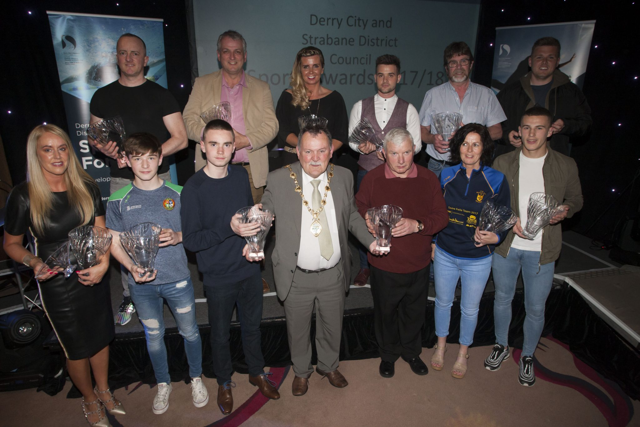 The Mayor of Derry City and Strabane District Council, Councillor Maoliosa McHugh pictured with individual award winners at the DCSDC Annual Sports Awards held in the City Hotel on Wednesday night last. Credit Jim McCafferty Photography