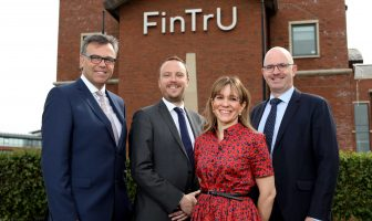 Alastair Hamilton (CEO, Invest NI), Richard McGuinness (Managing Director, FinTrU), Katrien Roppe (Chief of Staff, FinTrU) and Darragh McCarthy (Founder & CEO, FinTrU)
