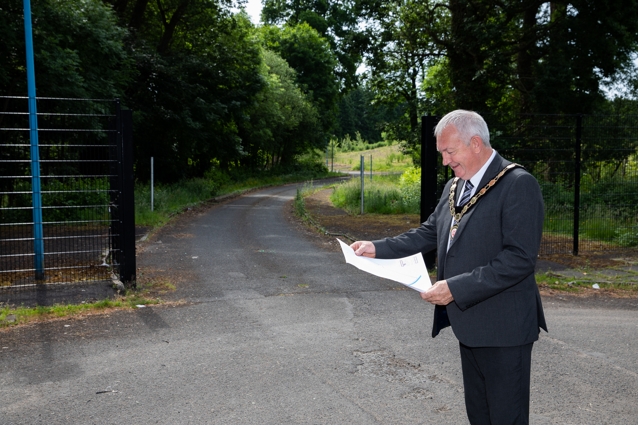 Chair of Mid Ulster District Council, Councillor Sean McPeake, at the site of the proposed new business park development in Maghera.
