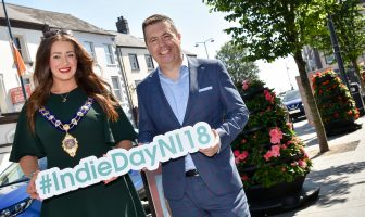 Mayor of Mid and East Antrim Lindsay Millar with Glyn Roberts, CEO Retail NI
