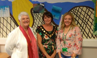 From left, Caroline Holloway, manager of children's services at Craigavon, Councillor Julie Flaherty and NSPCC social worker Jolene Trainor