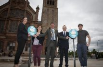 GET VOTING!. . . .The Mayor, Councillor John Boyle pictured at the launch of the Foodie Destinations 2018 Voting Call for Derry outside the city's Guildhall on Tuesday morning. The city has been included in the top 10 finalists. Included from left are Catherine Goligher, Tourism Officer, Derry City and Strabane District Council, Aideen McCarter, Head of Culture, DCSDC, Mark Toye, General Manager, Bishop's Gate Hotel and Stephen Forbes, Mekong.