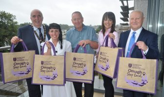 Pictured at the launch of the Shop Local Omagh jute bags are from left: Councillor Howard Thornton, Chairman of Fermanagh and Omagh District Council, Brigid Taggart, Vintage Exchange, with Members of Omagh Town Centre Forum, Lynn McKinley (Chair), She Boutique, Ivan Gilmour, Care for Cancer and Councillor Errol Thompson.