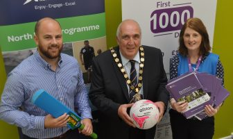 Pictured at the What's Your Game Club and Coach Education Programme are from left: Michael Cook, Sport NI, Councillor Howard Thornton, Chairman, Fermanagh and Omagh District Council, Billie-Jo Irwin, Leisure Recreation and Sport Officer, Fermanagh and Omagh District Council