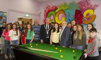Chair of Mid Ulster District Council, Councillor Sean McPeake is pictured with Chair of the Coalisland & Dungannon Neighbourhood Renewal Partnership, Francie Molloy, MP, Deirdre Hasson, Education Authority and Leo Quinn ÓGRAS along with participants of the Ógras Summer Scheme.
